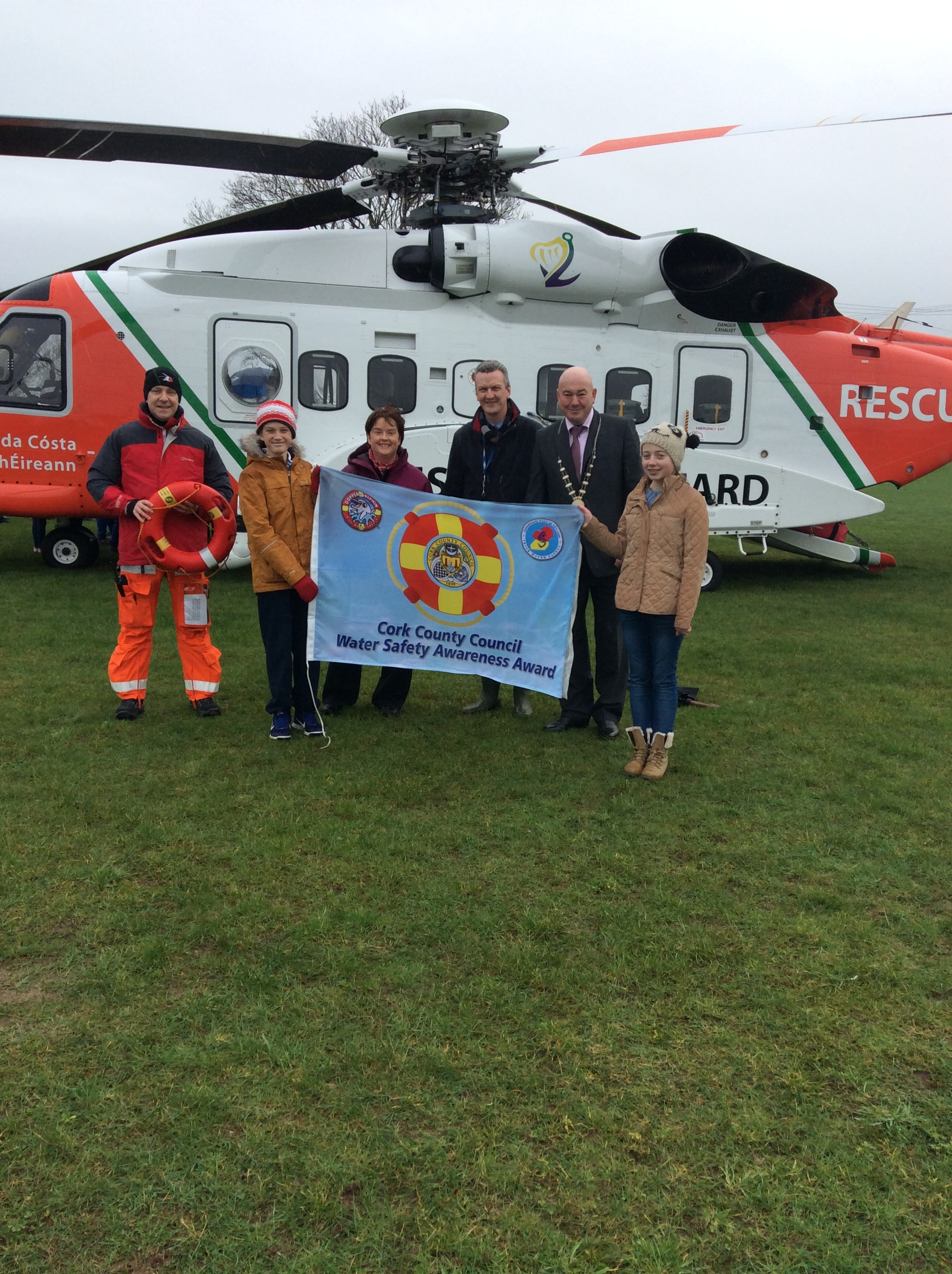 Coast Guard Helicopter lands near Co Cork Primary School