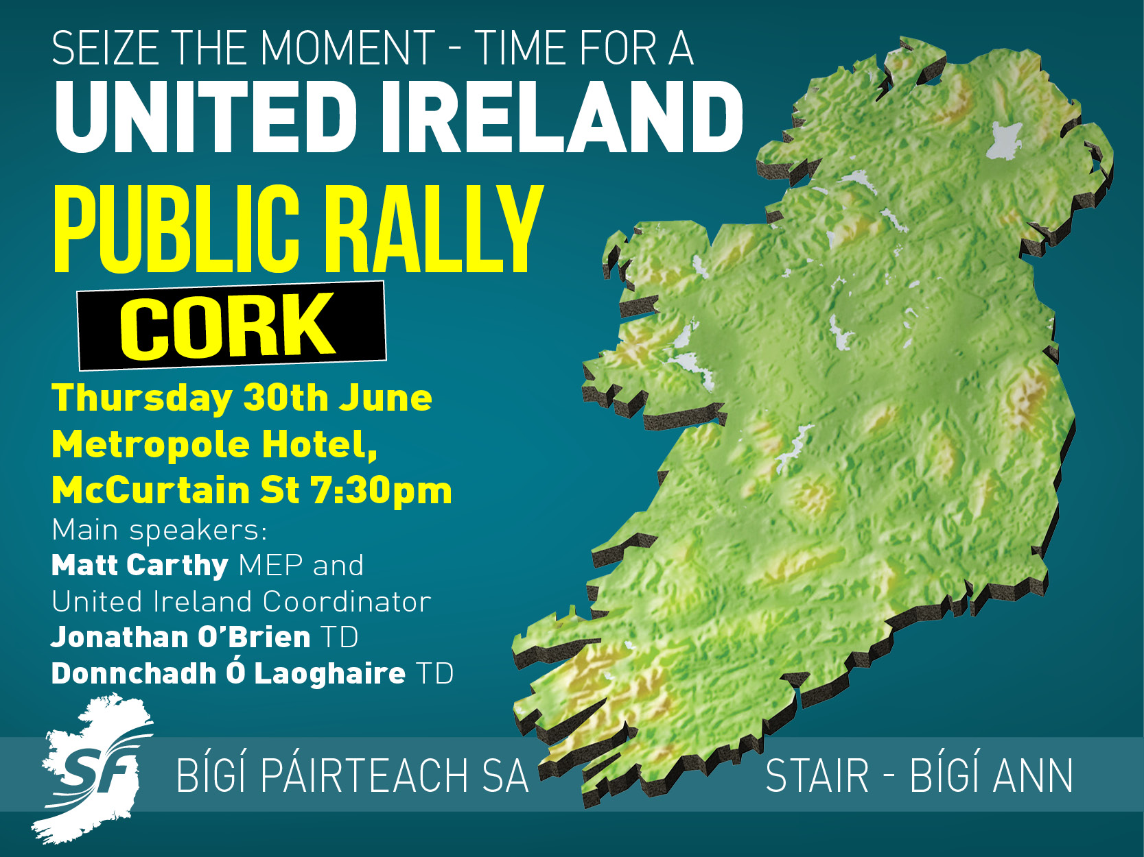 Sinn Féin in Cork to hold 'Time for a United Ireland' public meeting following Brexit result