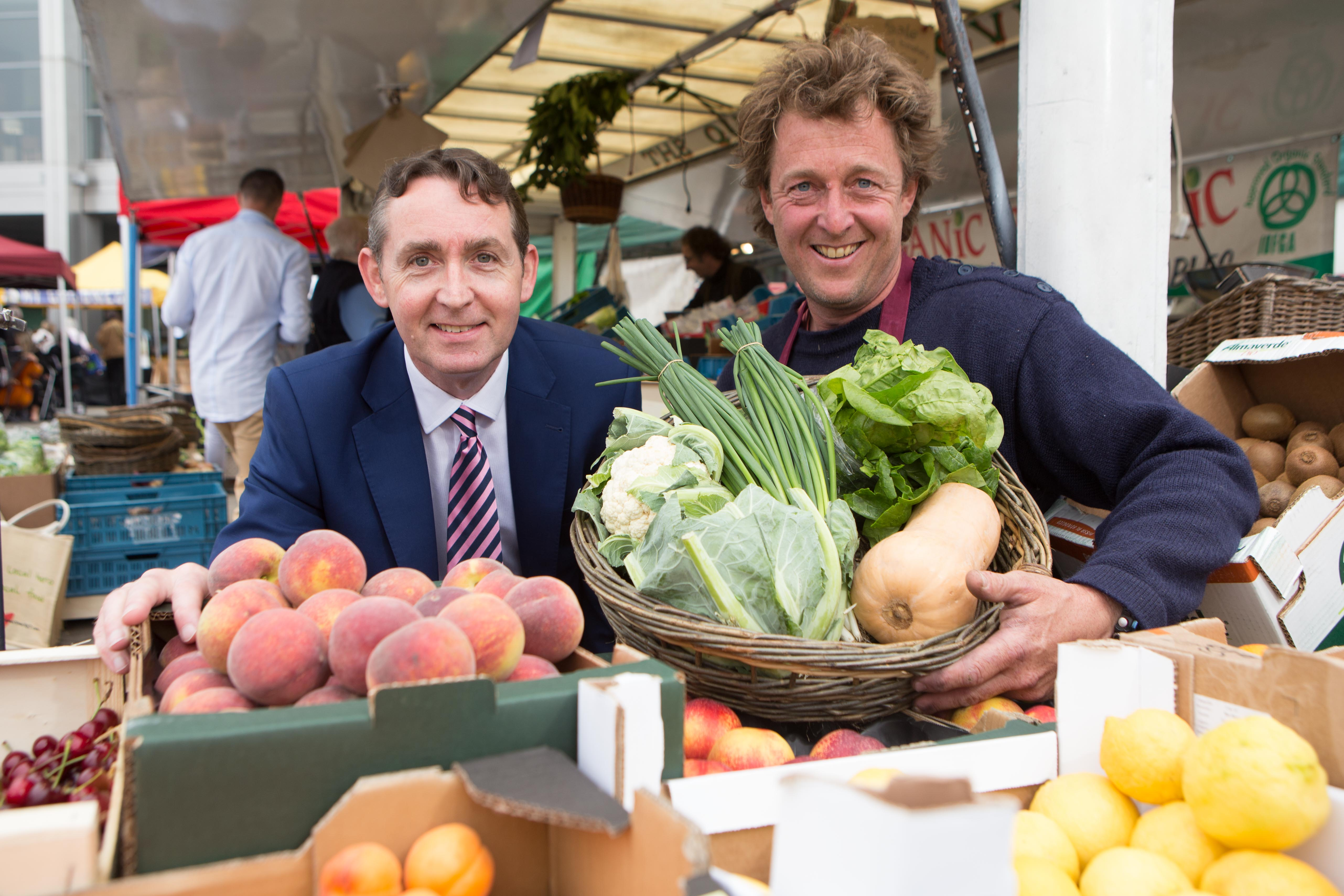 91362e8ec4da4 Justin Young, Mahon Point Centre Manager and Rupert Hugh-Jones, manager of  the Farmers Market in Mahon Point Farmers Market to announce the expansion  of the ...