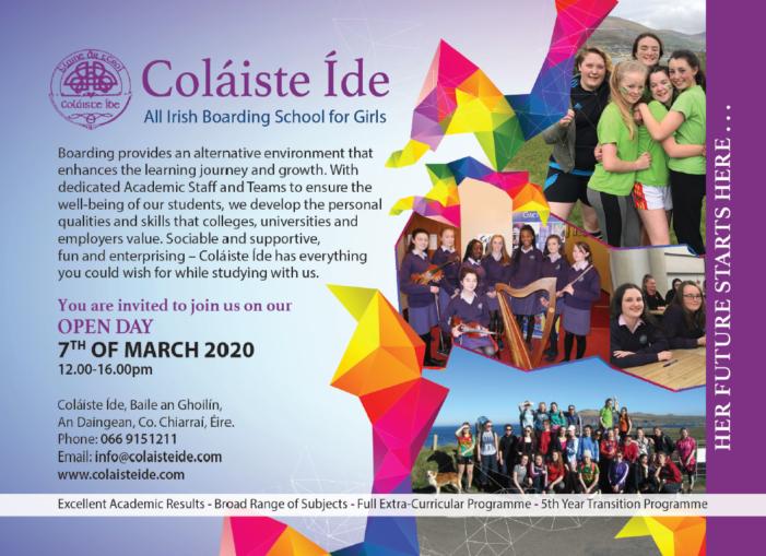 OPEN DAY: Coláiste Íde – All Irish Boarding School for Girls – An Daingean, Co Chiarraí